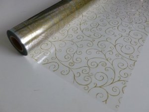100m x 80cm Scroll Swirl Design Print - Gold on Clear Cellophane Film Wrap Roll - 100 Metres - BUMPER WHOLESALE ROLL by EFS