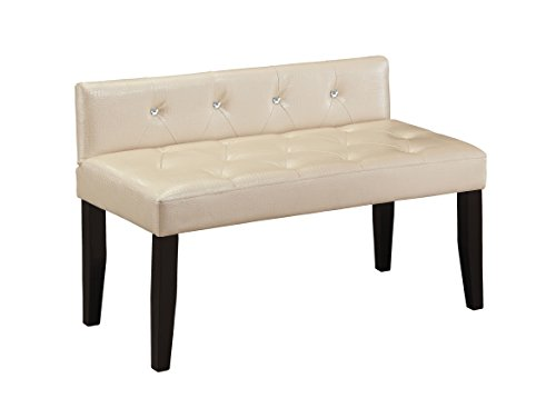 HOMES: Inside + Out Vennie Contemporary Faux Crocodile Footboard Bench, Small, Pearl White ()