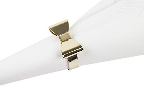 Fennco Styles Classic Design Metal Napkin Ring - Set of 4 (Bowtie)]()