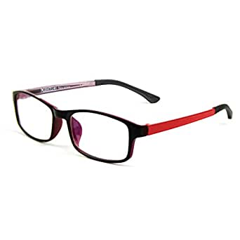 Cyxus Anti Blue Light Blocking UV TR90 Lightweight Glasses Clear Lenses Anti Eye Strain Relieving Headache Computer Eyewear Black Frame Red Temple