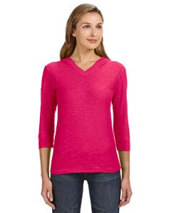 J. America womens 3/4-Sleeve Hooded Slub T-Shirt(JA8153)-WILDBERRY-XL (Quarter Slub Sleeve Shirt)