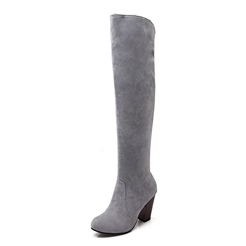 Allhqfashion Women's Imitated Suede High Heels Round Closed Toe Solid Pull On Boots Gray eaUDJtcuh
