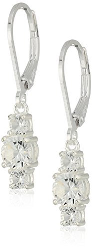 - Sterling Silver Created White Sapphire 5mm and 3mm Three Stone April Birthstone Leverback Dangle Earrings