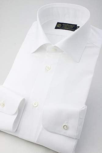 白無地 ブロード シーアイランドコットン David & John Anderson生地 綿100% ワイドカラー 日本製 (細身) ドレスシャツ wd4609