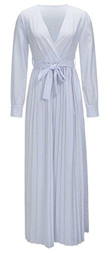 Pleated Neck Deep Belt Long Dress Womens Maxi Sleeve White Wrap JSYAU Belted V Summer YZxTwHqz8