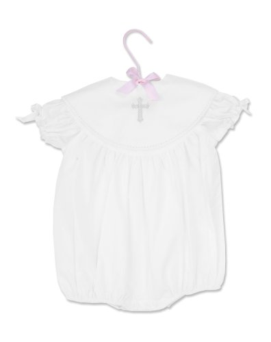 (Mud Pie Baby Classic Keepsakes Baby Girl Cotton Bubble with Cross Detail)