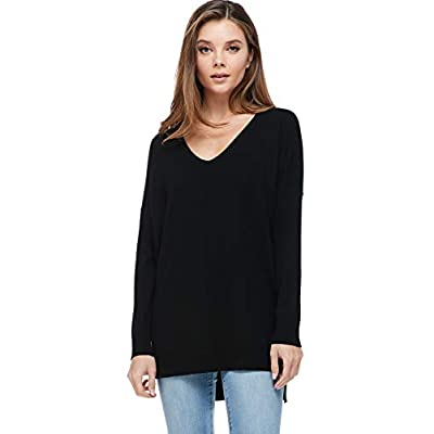 A+D Women's Oversized Extra Soft V-Neck Pullover Sweater Long Sleeved Sweater Top with Hi-Low at Women's Clothing store