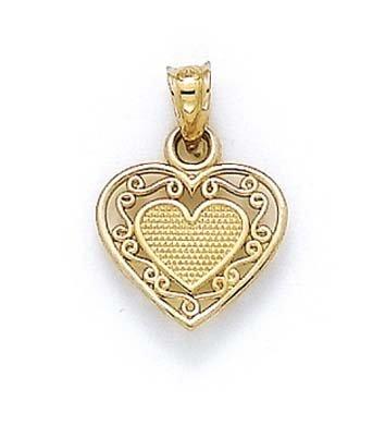 14 Carats Pendentif Coeur en Filigrane-JewelryWeb