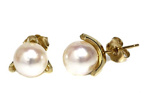 Akoya Pearl 14k Stud Earrings - Akoya Pearl Tulip Stud Earrings 7.5-8