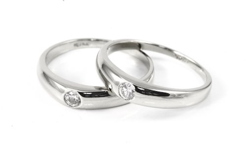 14k Gold Couple Engagement CZ Rings Set (White-gold) by Pyramid Jewelry
