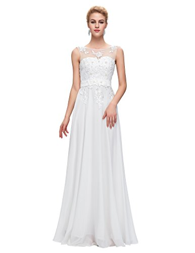 White Chiffon Long Bridesmaid Dress ,White,4