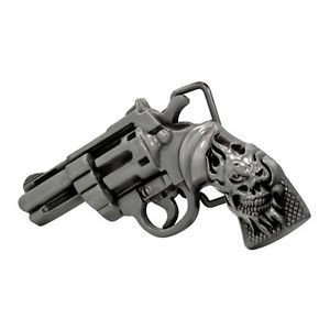 (Brushed Metal Silver Flaming Skull Revolver Pistol Belt Buckle Gun Cool Unique)