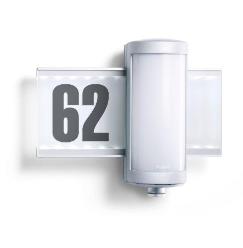Steinel Hausnummern-Leuchte L 625 LED mit 155 Lumen, Eingangs-Beleuchtung mit 360° Passiv-Infrarot Bewegungssensor und max. 8 m Reichweite, Inkl. Hausnummern-Bogen, 003746[Energieklasse A++]