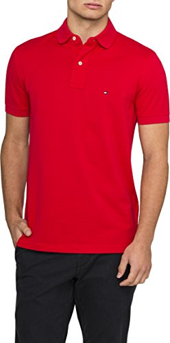 TOMMY HILFIGER 0867802698-611 Polo para Hombre, Apple Red/CW/Cn, Mediano