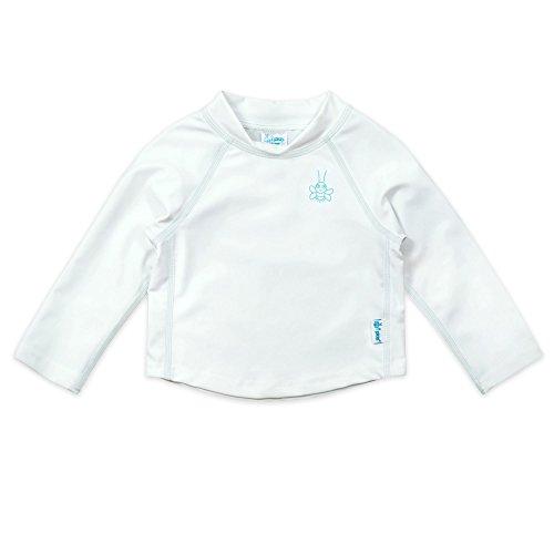 (Long Sleeve Rashguard Shirt-White/Blue-12mo)