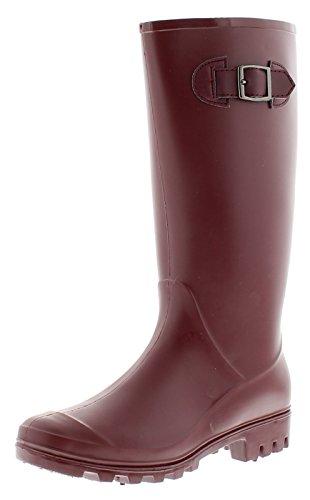 New Ladies/Womens Matt Berry Long Leg Wellington Bootsbuckle Strap - Berry - UK Sizes 3-8