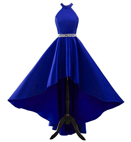Changuan Halter High Low Evening Party Dress Satin Homecoming Prom Dresses Sleeveless Royal ()