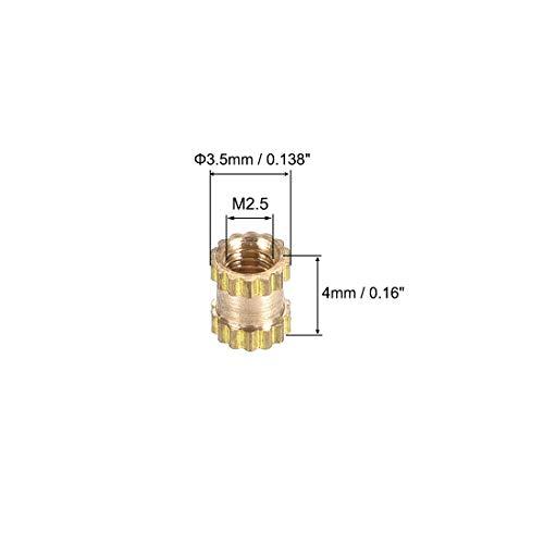 50 Pcs uxcell Knurled Insert Nuts M2.5 x 6mm L x 3.5mm OD Female Thread Brass Embedment Assortment Kit
