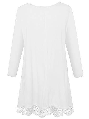 de9d9c01c0c Womens Plus Size Long Sleeve Shirts Swing Tunic Tops Knit Lace T-Shirt  (White