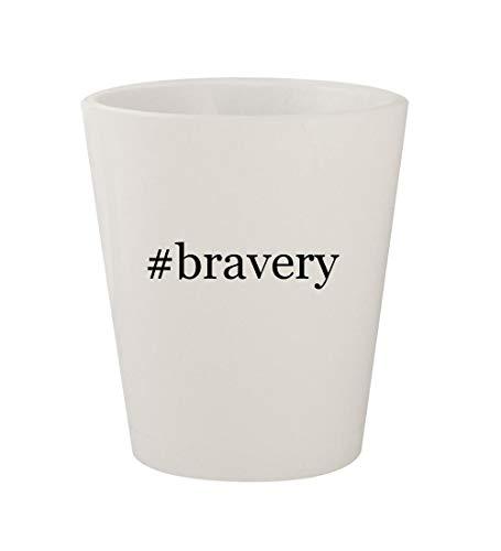 (#bravery - Ceramic White Hashtag 1.5oz Shot Glass)
