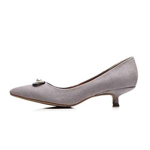 Womens Pumps Casual Urethane Beaded Gray Shoes Nubuck BalaMasa APL11156 aXwBa