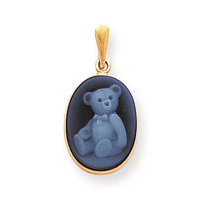 - 14K Yellow Gold Teddy Bear Agate Cameo Charm Pendant