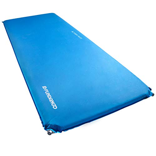 FUNDANGO Outdoors XL Thick Self Inflating Sleeping Pad Comfortable Camping Mattress, Single, X-Large, Wide Tall, 77.9 x 30 x 3 inches, Blue