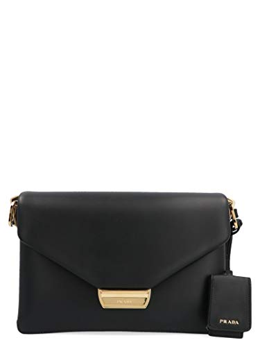 Luxury Fashion | Prada Woman 1BD208VOTO2CKMF0002 Black Leather Shoulder Bag | Fall Winter 19