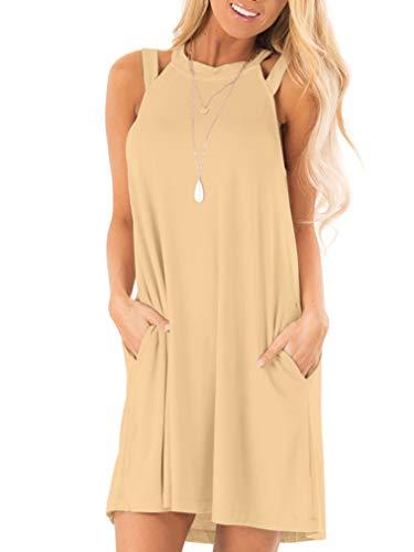 LAGSHIAN Women's Summer Casual Loose Sleeveless Swing T-Shirt Dress with Pocket Khaki