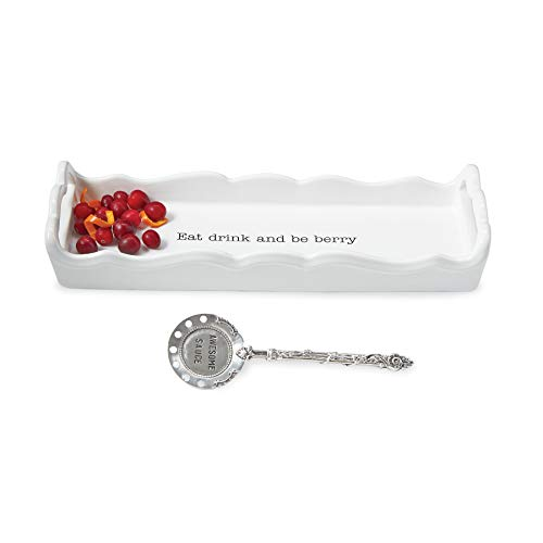 Mud Pie 4071199E Set-Eat Drink and Be Berry Cranberry Serving Dish, One size, White