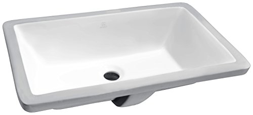 Vintage Undermount Bathroom Sink - ANZZI Rhodes 21 in Polished White Ceramic Rectangular Undermount Sink Basin | Overflow Bulit in Porcelain Bowl Bathroom Vessel Lavatory Sink Counter Top | cUPC & CSA Certified | LS-AZ112