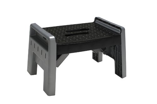 Cosco 11-905PBL4 Molded Folding Step Stool, Platinum