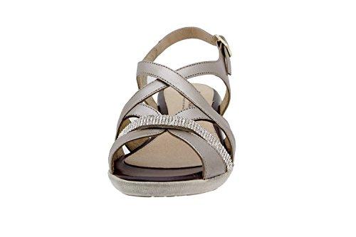 Calzado mujer confort de piel Piesanto 6558 sandalia cuña zapato cómodo ancho Titanio