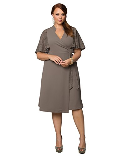Kiyonna Women's Plus Size Charming Lace Wrap Dress 2X Shitake