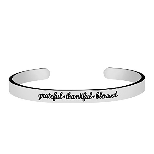 (Joycuff Gift for Her Inspirational Christmas Jewelry for Women Mantra Christian Engraved Grateful thankful)