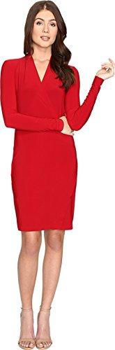 kamalikulture-by-norma-kamali-womens-long-sleeve-modern-side-drape-dress-to-knee-red-dress