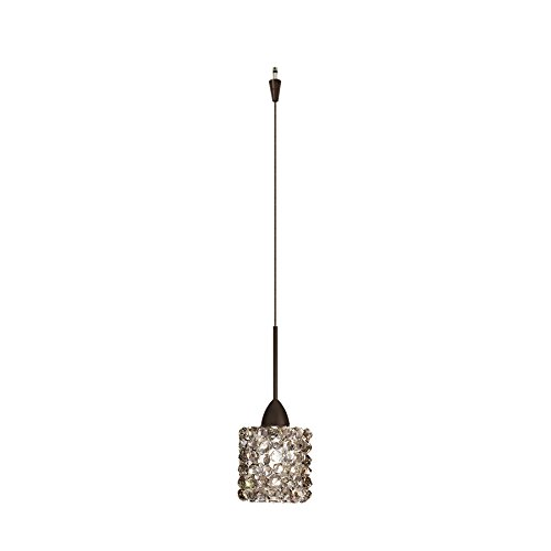 Connect Mini Track Pendant Shade - WAC Lighting QP-LED539-BI/DB Mini Haven Quick Connect LED Pendant Black Ice Shade with Dark Bronze Socket Set