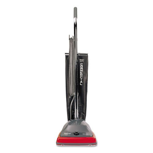 Sanitaire SC679J Commercial Lightweight Upright Vacuum, Bag-Style, 12lb, Gray/Red