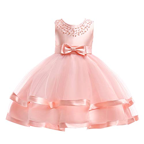 JIANLANPTT Elegant Kids Sleeveless Lovely Pearls Beaded Bowknot Ball Gown Baby Girl Party Dresses 4-5 Years Pink 1