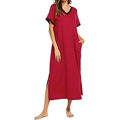 ANJUNIE Maxi Sleepwear Women's Nightshirt Short Sleeve Nightgown Ultra-Soft Full Length Dress(Wine Red,S)