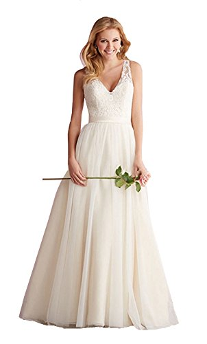 Elley Women's A Line V-Neck Sheer Straps Sweep Train Sleeveless Lace 2016 Long Wedding Dress for Bride Ivory US10 (A-line Sleeveless Sweep)