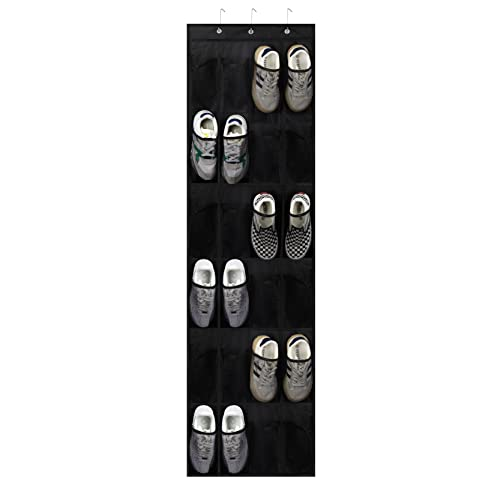 Bestjing Over The Door Shoe Organizer, 24 Breathable and Durable Large Mesh Pockets, Hanging Shoe Organizer, Hang on Bedroom And Storage Room for Storing Shoes and Toys