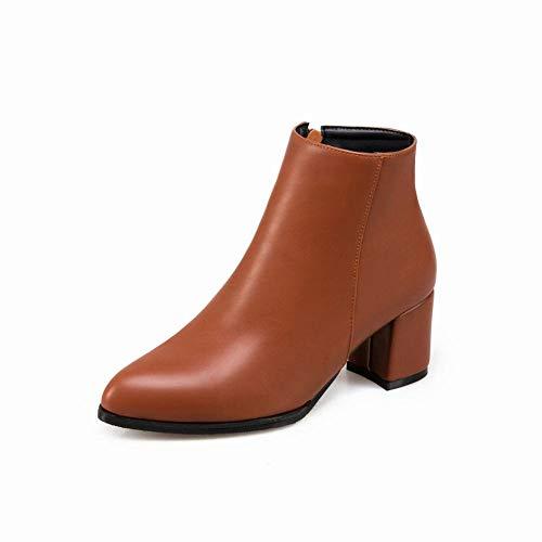 Éclair Épais 36 Jaune Chaudes 43 Xdx Pointues Hiver Hauts Bottes Pour FemmesÀ Fermeture Talons Rétro chaussures nvmNw80O