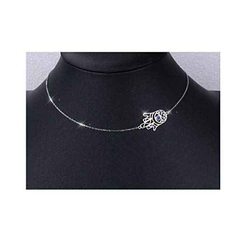 S925 Sterling Silver Choker Short Sideways Hamsa Hand Evil Eye Necklace Pendant for Women Girl ()