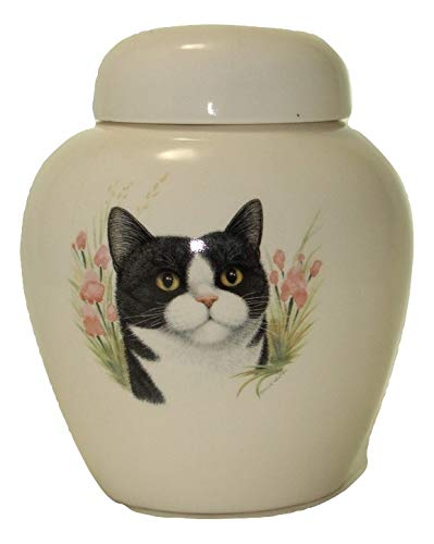 Skyline Arts Black White Cat Urn- Cremation Urn or Keepsake for Ashes - Hand Made Pottery by Skyline Arts