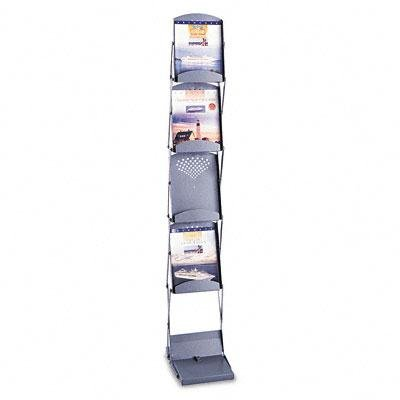 Safco - Portable Folding Literature Display 10W X 13-1/4D X 56H Metallic Gray ''Product Category: Office Furniture/Display Racks & Cases''