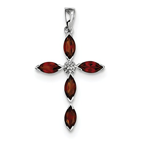 ICE CARATS 925 Sterling Silver Red Garnet Diamond Cross Religious Pendant Charm Necklace Gemstone Fine Jewelry Ideal Mothers Day Gifts For Mom Women Gift Set From Heart Garnet Religious Cross