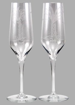 Baccarat Crystal Tropical Palm Tree Etched Champagne Flutes. Set of 2