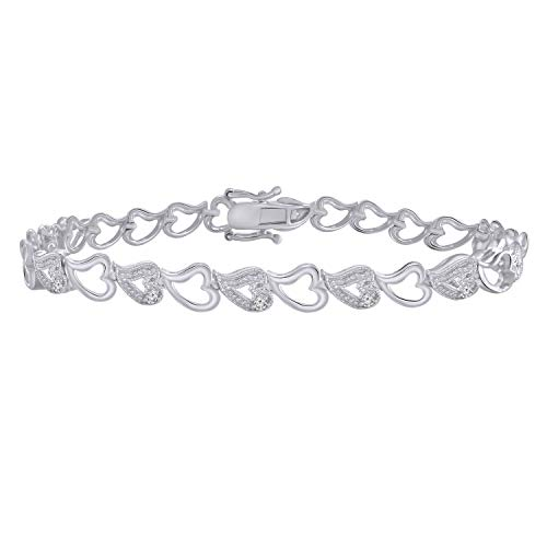 Trillion Jewels 0.26 CT (I1-I2/I-J) Natural Diamond 14K White Gold Finish Heart Fashion Bracelet