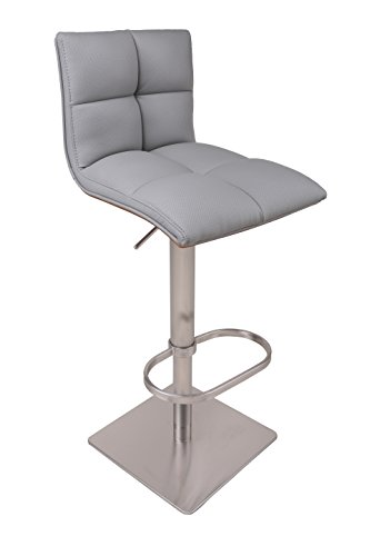Cheap AC Pacific Contemporary Hydraulic Height Adjustable Stainless Steel Swivel Bar Stool Chair, 22″-32″, Gray